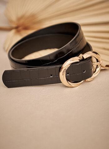 Double Buckle Belt, Black,  fall winter 2021, accessory, accessories, belt, basic, essential, double buckle, gold metal, faux leather, twist, gator skin, crocodile skin, faux leather,