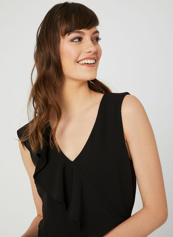 Sleeveless Ruffle Jumpsuit, Black, hi-res