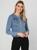 Veste en jean à détails perles et pierres, Bleu, hi-res