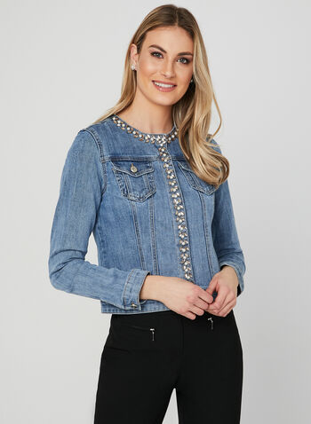 Crystal Embellished Denim Jacket, Blue, hi-res