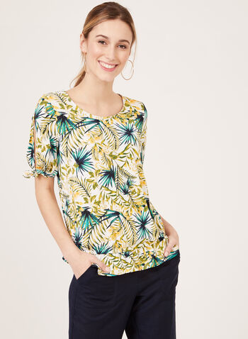 Tropical Print Blouse With Cut Out Shoulder, Green, hi-res