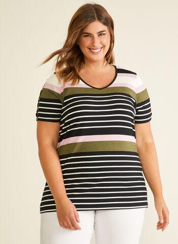 Stripe Print Slit Sleeve Tee, Green,  t-shirt, v-neck, striped, slit sleeves, spring summer 2020