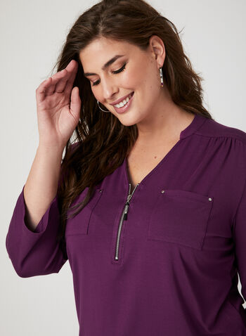 ¾ Sleeve Henley T-Shirt, Purple, hi-res