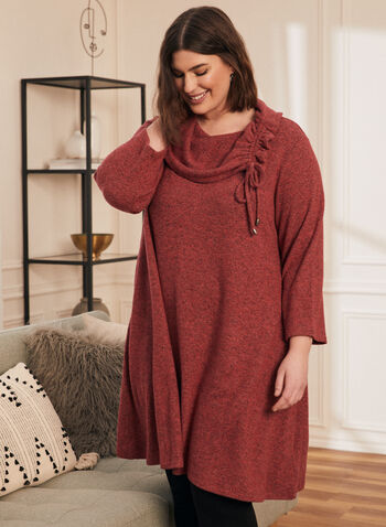 Cowl Neck Sweater Knit Tunic, Red,  top, tunic, cowl neck, drawstring, 3/4 sleeves, sweater, knit, fall winter 2020