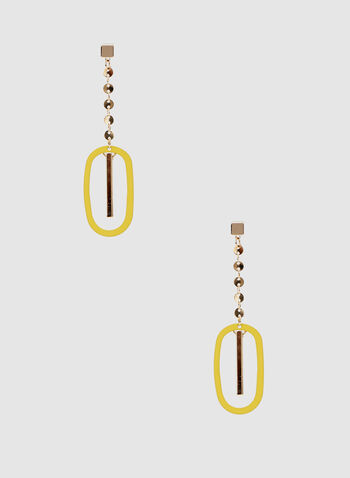 Oval Dangle Earrings, Yellow, hi-res