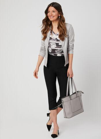 T-shirt motif feuilles et strass, Noir, hi-res,  t-shirt, feuilles, manches courtes, strass, col V, printemps 2019