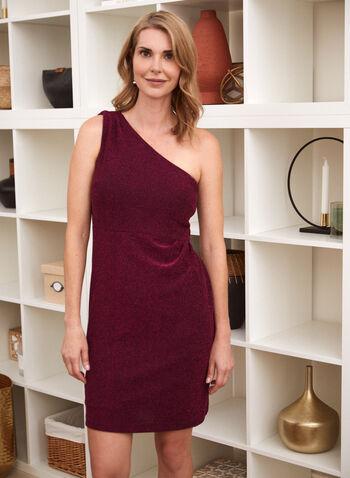 Metallic Shimmer One Shoulder Dress, Purple,  Fall winter 2020, dress, metallic, shimmer, sparkle, sleeveless, one-shoulder, draped