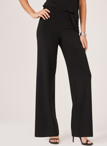 Wide Leg Jersey Pants, Black, hi-res