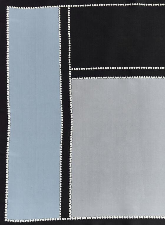 Foulard carré à blocs de couleurs, Noir, hi-res
