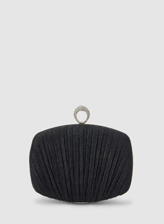Pleated Box Clutch, Black