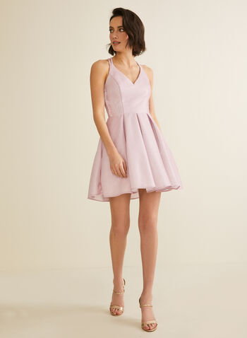 Crisscross Back Glitter Dress, Pink,  dress, prom, party, short, glitter, crisscross, pockets, crinoline, v-neck, spring summer 2020