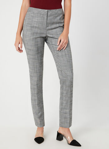 Modern Fit Plaid Pants, Black,  Modern Fit, straight leg, plaid, mid rise, shaped hips, contour waist, fall 2019, winter 2019
