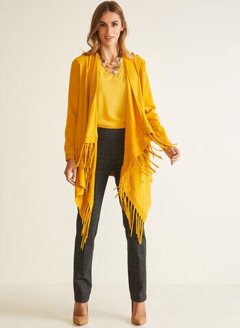 Cardigan style poncho à franges, Jaune,  cardigan, franges, manches longues, automne hiver 2020