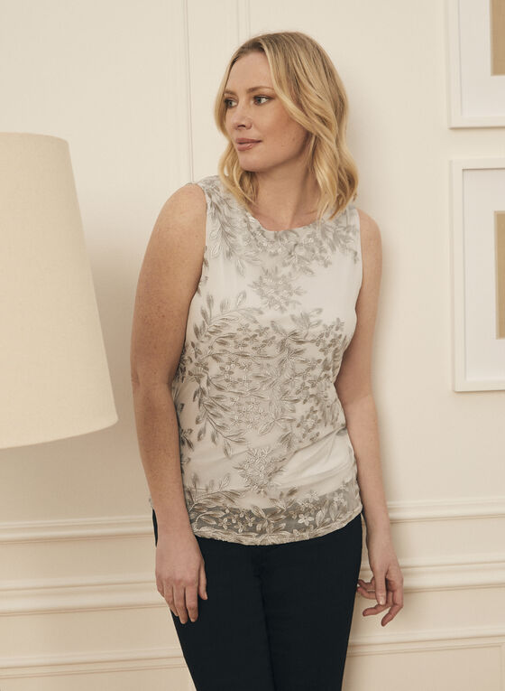 Sleeveless Embroidered Top, Grey
