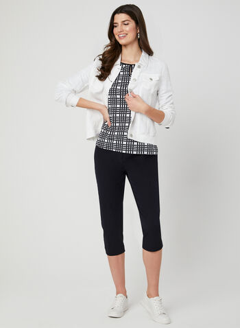 Abstract Print Tie Detail Blouse, White, hi-res,  jersey, ¾ sleeves, 3/4 sleeves, spring 2019
