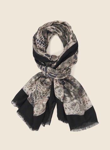 Abstract Print Scarf , Black,  fall winter 2020, scarf, accessories, abstract print