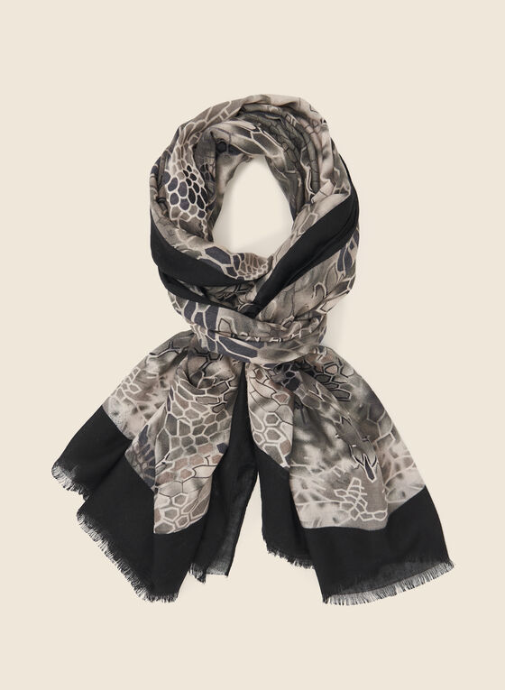 Abstract Print Scarf , Black