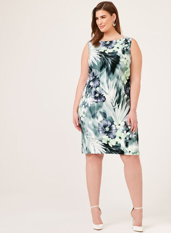 Floral Print Sleeveless Sheath Dress, Green, hi-res