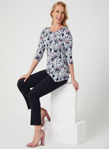 Asymmetrical Floral Print Top, Grey, hi-res