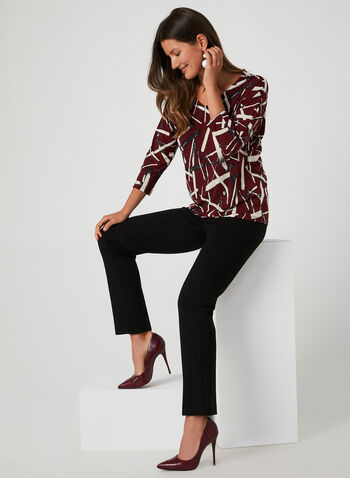 Abstract Print Dolman Sleeve Top, Red,  abstract print blouse