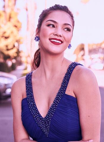 Robe à corsage plissé en crêpe , Bleu, hi-res