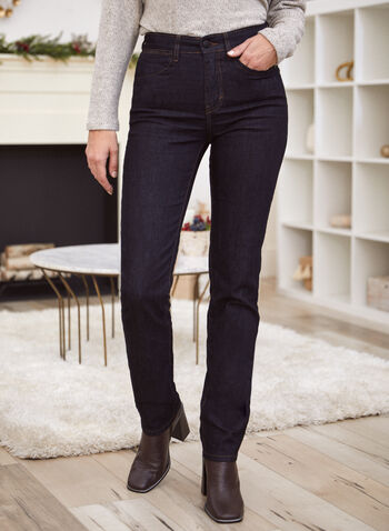 Slim Leg Jeans, Blue,  fall 2021, jeans, denim, pants, pants, slim leg, button, zipper, closure, belt loops, 5 pockets, rivet details, comfy, stretchy, denim, fabric