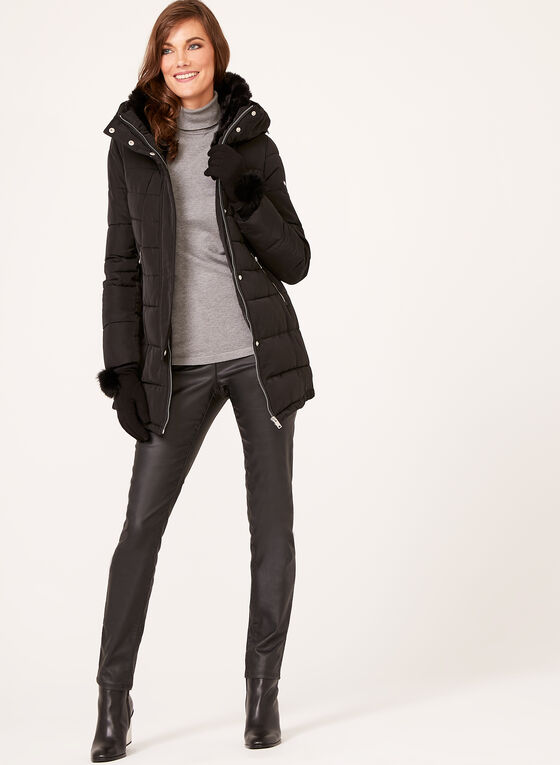 Novelti - Quilted Faux Fur Collar Coat, Black, hi-res