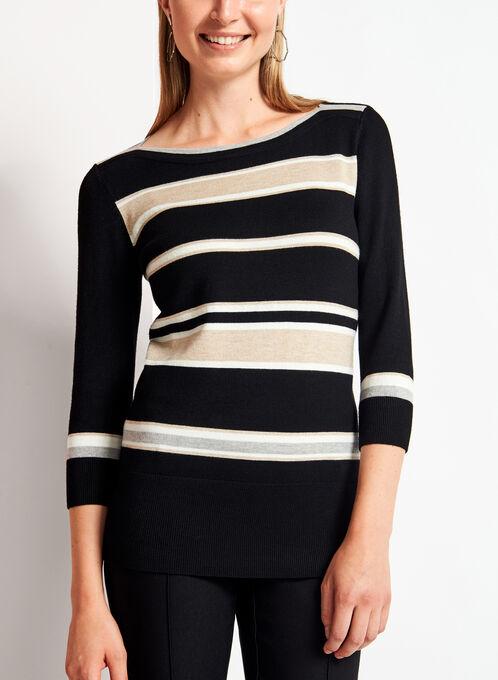 3/4 Sleeve Stripe Print Knit Sweater , Grey, hi-res