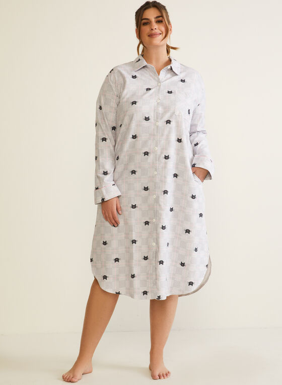 Cat Print Flannel Nightshirt , Grey