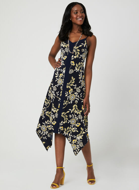 Laced Back Puff Print Dress, Blue, hi-res