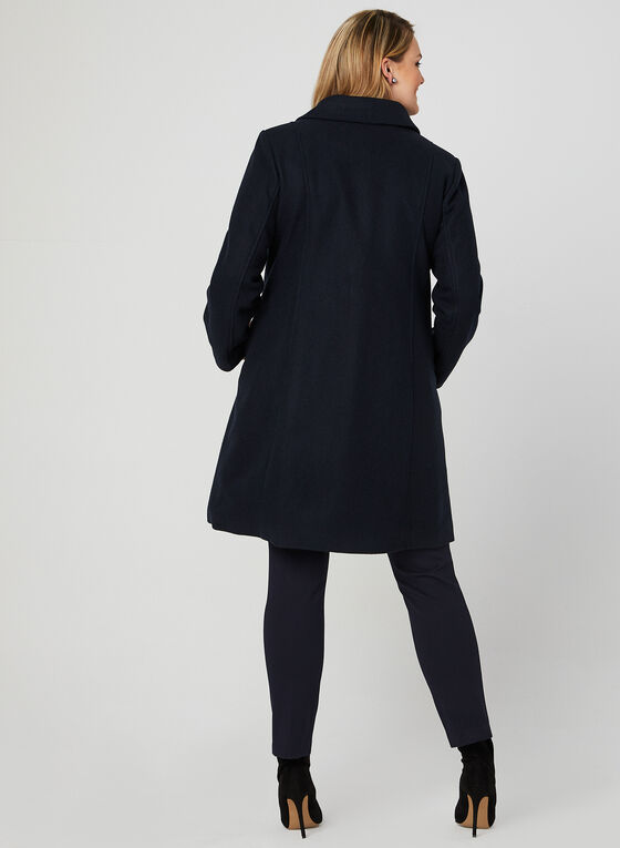 Faux Fur Trim Wool Blend Coat, Blue, hi-res