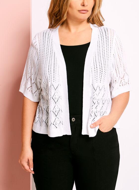 Boléro en tricot diamant avec manches coude, Blanc, hi-res