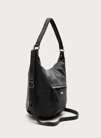 David Jones Paris - Faux Leather Hobo Bag, Black, hi-res