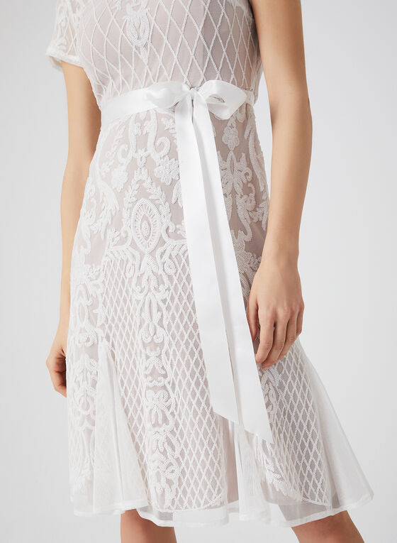Robe rétro en maille filet , Blanc, hi-res
