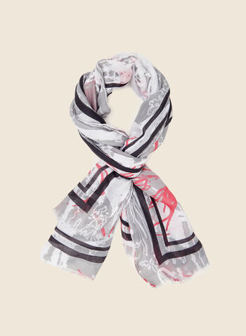 Foulard long à motif abstrait , Rose,  foulard, long, motif floral, rayures, printemps été 2021