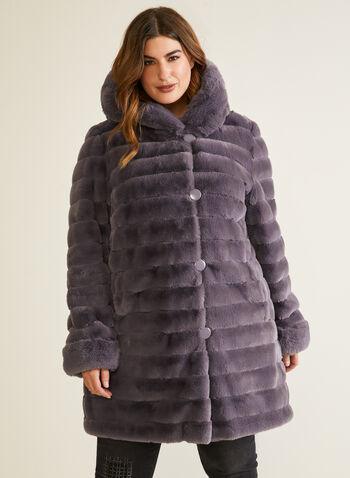 Reversible Faux Fur Coat, Purple,  coat, reversible, fur, waterproof, hood, pockets, fall winter 2020