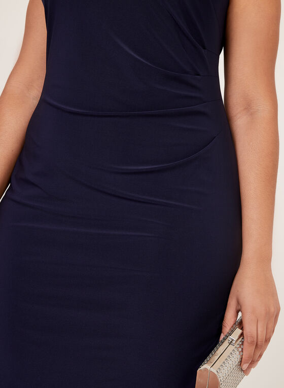 Jessica Howard - Robe cocktail drapée avec boucle perlée, Bleu, hi-res