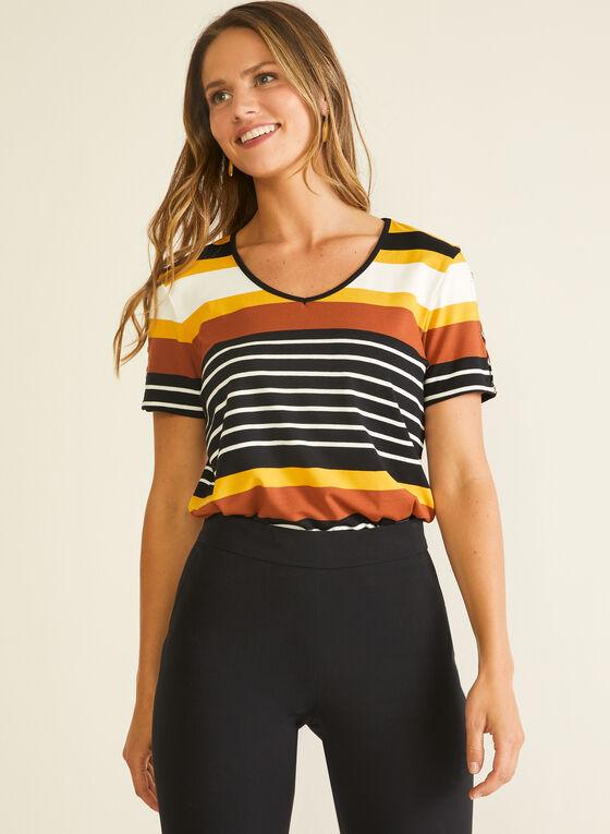 Stripe Print Slit Sleeve Tee, Brown