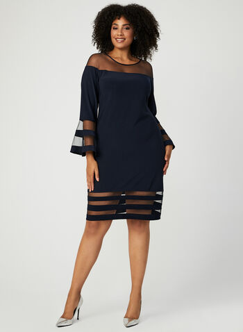 Illusion Trim Sheath Dress, Blue, hi-res