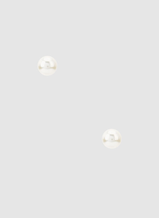Pearl Stud Earrings, Off White