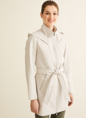Novelti - Hooded Belt Coat, Off White,  spring summer 2020, Novelti, hood, water-resistant