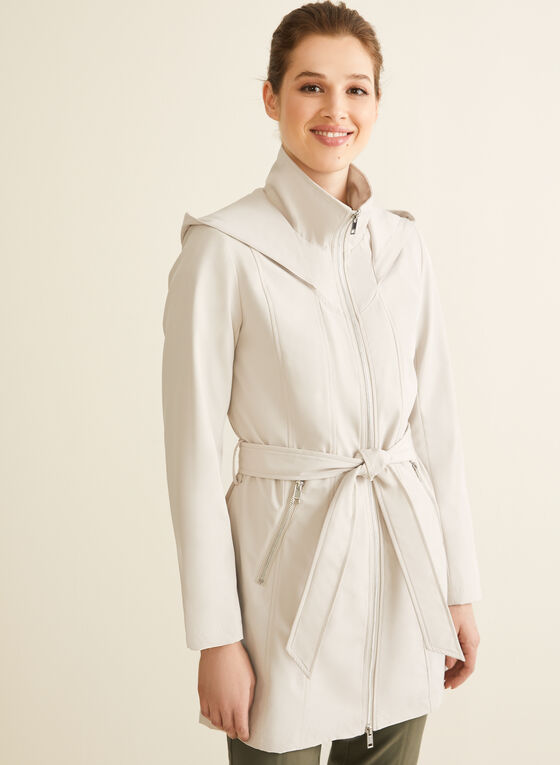 Novelti - Hooded Belt Coat, Off White