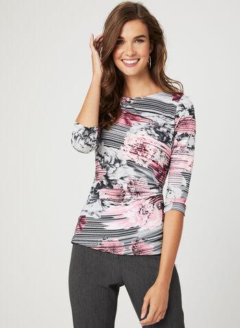 Floral Print ¾ Sleeve Top, Grey, hi-res