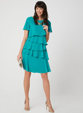 Jessica Howard – Tiered Chiffon Dress, Green, hi-res