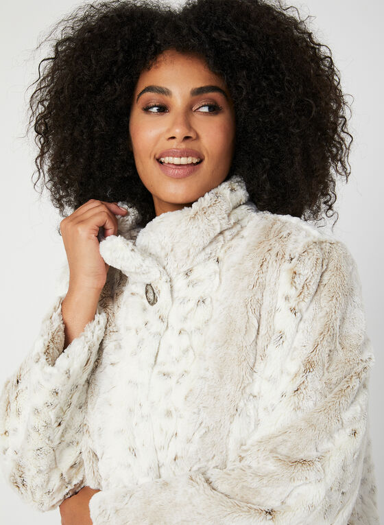 Novelti - Manteau duveteux en fausse fourrure, Blanc cassé, hi-res