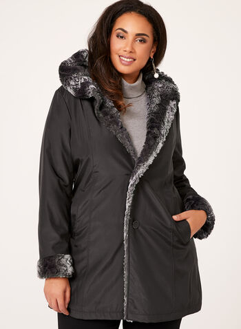 Reversible Faux Fur Coat, , hi-res
