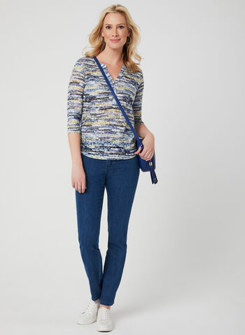 Abstract Print 3/4 Sleeve Top, Blue, hi-res