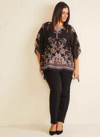 Paisley Print Poncho Blouse, Black,  blouse, poncho, paisley, chiffon, fall winter 2020