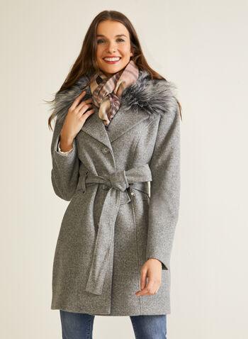 Manteau extensible à fausse fourrure, Gris,  automne hiver 2020, manteau, fausse fourrure, boutons, ceinture, poches, laine, trench, trench-coat