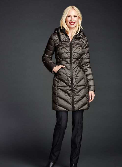B by Bernardo - PrimaLoft® & Down Filled Packable Coat, Green, hi-res